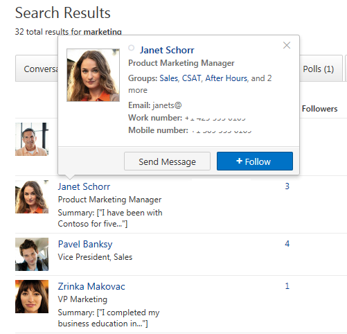 Yammer following colleagues
